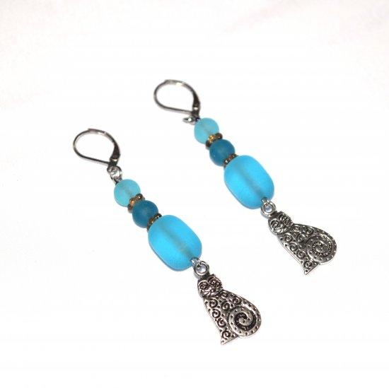 Handmade cat earrings, aqua sea glass beads, brown glass rondelles, cat charms