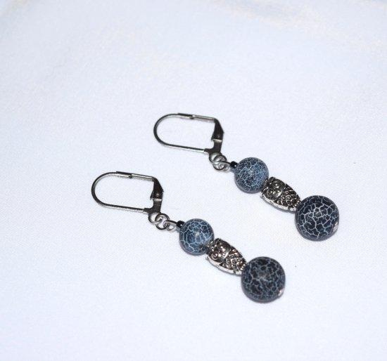 Handmade owl earrings, blue cracked agate beads, owl bead