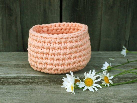 cotton crocheted basket peach color