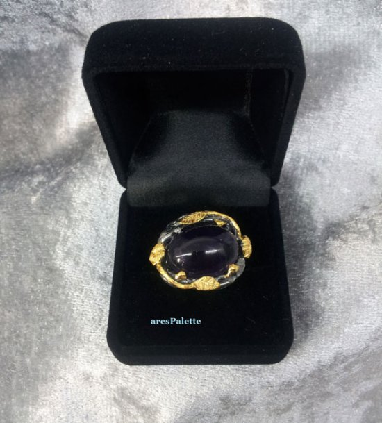 Amethyst Ring- Handmade Oval Amethyst Ring-Special Design 13.01 ct