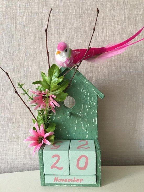 Handmade wood perpetual calendar,  Wood Block Calendar, Spring, Country, Natural, Spring flowers, Calendar, Birdhouse, Eco, Vintage, Rustic.