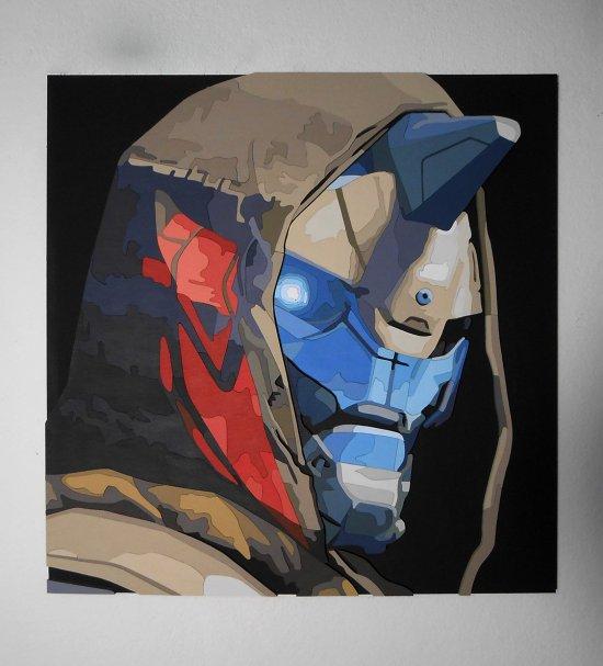 Handmade Cayde-6 portrait, Cayde-6 wall art