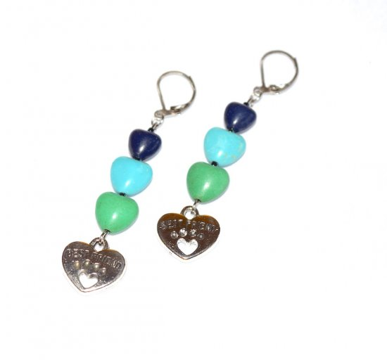 Handmade pawprint heart earrings, green, navy and turquoise resin hearts, pawprint heart charm, green seed beads