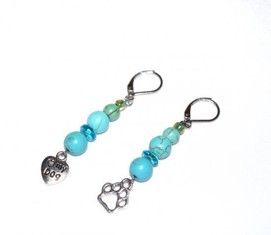 Handmade dog lovers earrings, mismatched heart and  pawprint charms, blue and green beads, lampworked rondelles