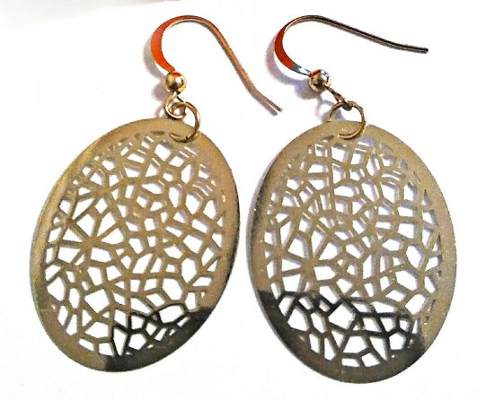 Oval Earrings, Gold Earrings, Filigree Earrings, Latice Design Earrings, Everyday Earrings, Unique Earrings, Birthday Gift, Gift for Her