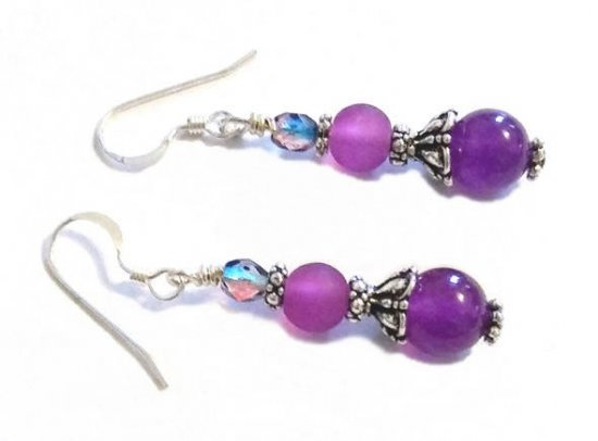 Amethyst Purple Pink Earrings, Gemstone Amethyst Earrings, Mix Color Earrings, Fuschia Earrings, Earrings for Sister, Earrings for Mom