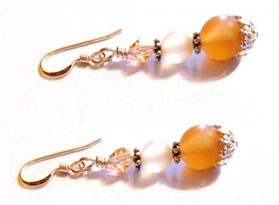 Carnelian Gemstone Earrings, Carnelian Stone, Carnelian Silver Earrings, Sterling Silver Earrings, Beaded Earrings, Earrings for her, Gifts