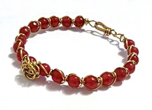 Red Jade Bracelet, Wire Wrapped Bracelet, Rose Accent Bracelet, Gold Flower Bracelet, Gemstone Bracelet, Unique Bracelets, Birthday Gift