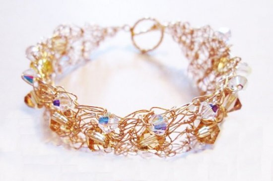Gold Wire Bracelet, Crystal Bracelet, Crocheted Bracelet, One-of-a-kind Bracelet, Unique Bracelet, Gold Crystal Bracelet, Gift for Her