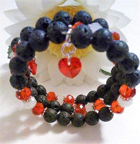 Lava Rock Bracelet, Lava Rock Beads, Lava Rock Jewelry, Lava Rock, Black Bracelets for Women, Valentines Day Bracelet, Heart Charm Bracelet