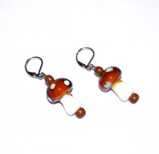 Handmade mushroom earrings, brown and white mushroom beads, brown wood beads