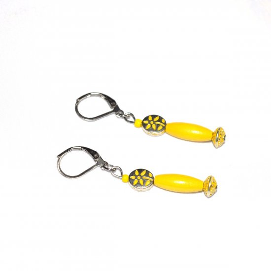 Handmade yellow flower earrings, yellow flower oval and rondelle beads, yellow wood oval tube