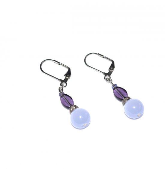Handmade purple earrings, purple ovals, light purple cat's eye, smoky glass flower rondelle