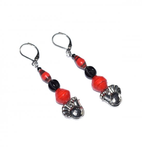 Handmade red and black earrings with hen charm, red and black paper beads, black fluted glass bead