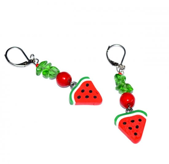 Handmade watermelon slice earrings, red glass beads, green glass chips, watermelon slice charm