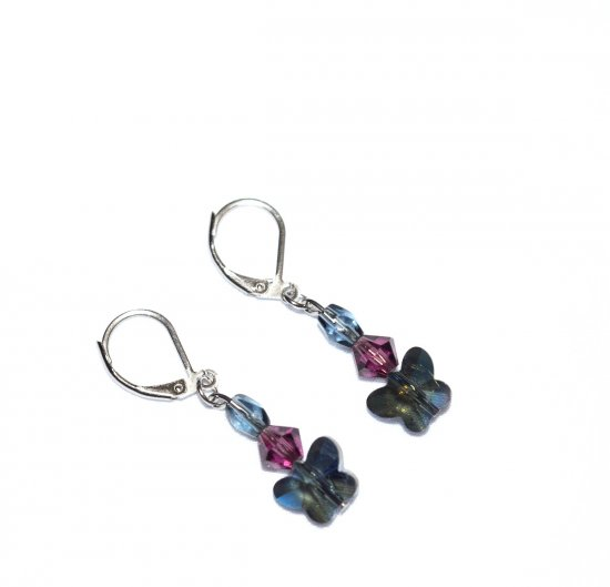 Handmade butterfly earrings, smoky blue crystal butterfly, purple Czech crystal, faceted smoky blue crystal teardrop