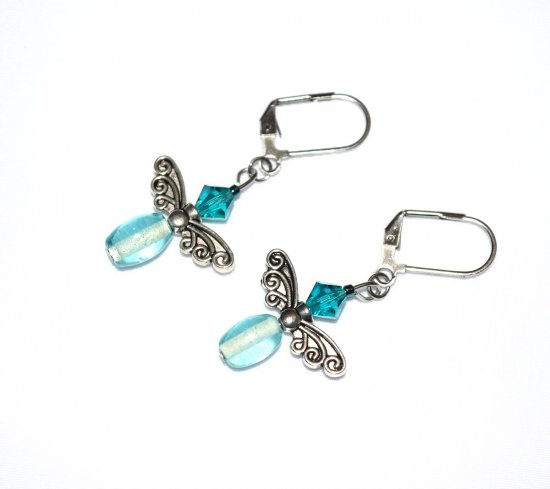 Handmade aqua earrings, fairy wing bead, aqua Czech crystal, aqua glass barrel bead