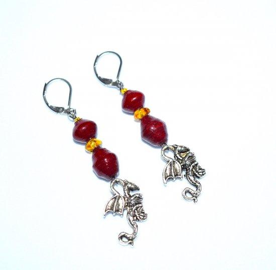 Handmade dragon earrings, maroon paper beads, honey glass triangle, dragon charm