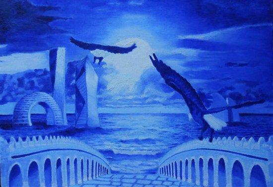 NIGHT SEA An original oil on canvas painting