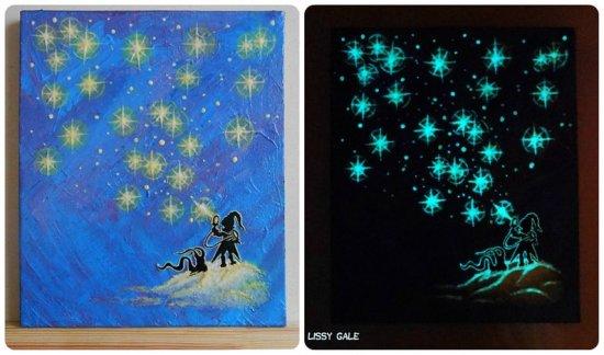 Star Elf, Glow in the dark, Original artwork, 100% Handmade Acrylic On Canvas