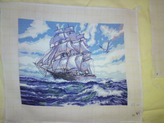 HIGH SEAS a beautiful completed hand made Needlepoint picture