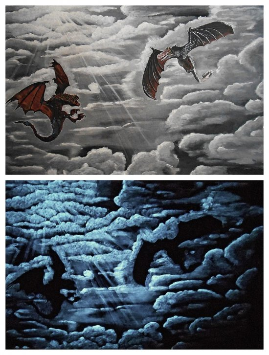 Glow in the dark art dragons in the sky original acrylic painting fantasy art