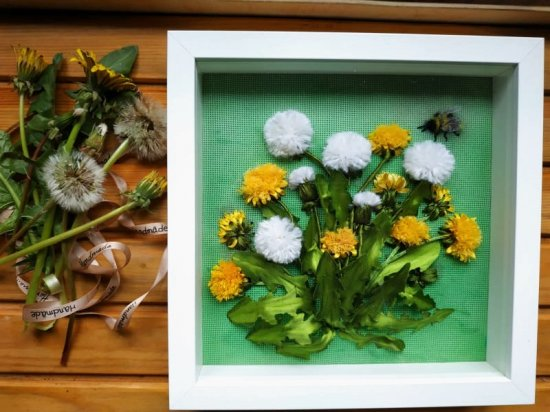 Embroidery ribbons picture,silk satin ribbons canvas picture. 3D dandelions . ribbon embroidered picture