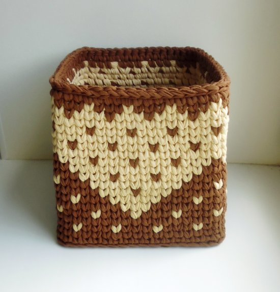 crocheted square basket brown color