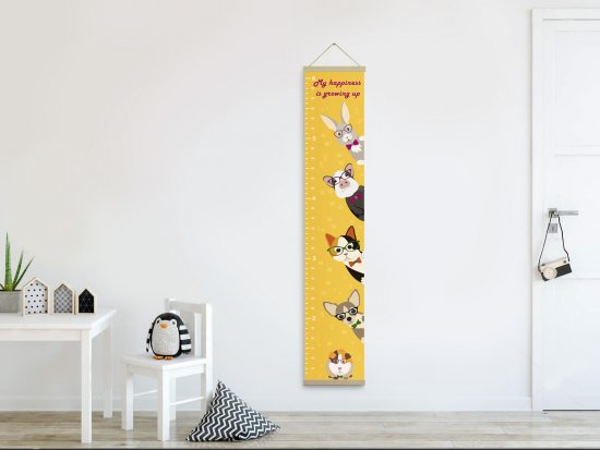 Growth chart, Growth ruler yellow, Gift for baby, nursery decor, pets picture, wall decor, height