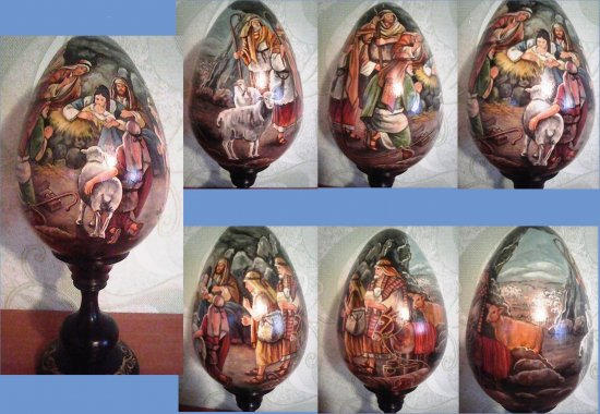 Picture of the Nativity on a wooden egg/Easter- Nativity/Painting on the egg (in a circle)-Universal gift for Christmas, holidays,home decor