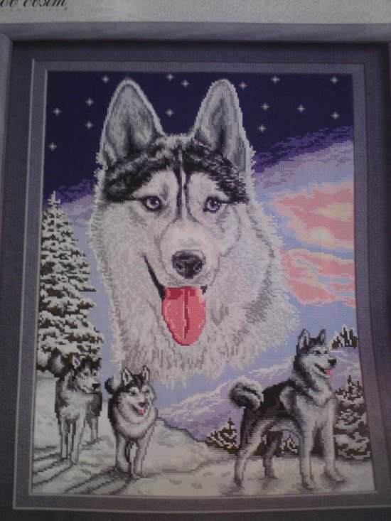 THIS SNOW HUSKY and FRIENDS is a beautiful completed hand made Needlepoint picture, Bulgarian Goblin, Unframed