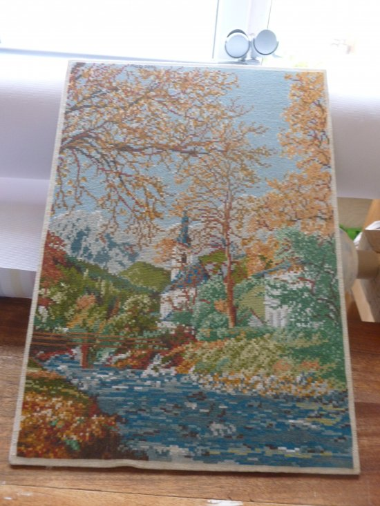 THE CHAPEL a beautiful completed Needle point picture, all ready stretched so you can buy a frame and do it your self