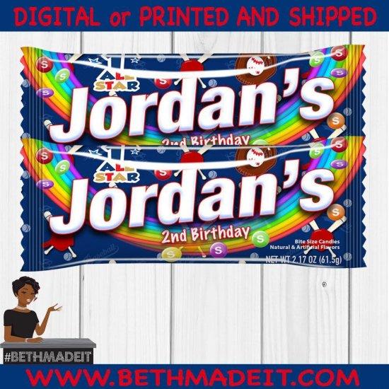 Baseball Party, Baseball Skittles Bag, Baseball, Softball, Baseball Party Favors, Sports, Digital or Printed and Shipped