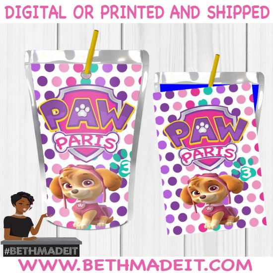 Skye Paw Patrol Birthday Party, Skye Birthday Theme, Party Favors, Party Decor, Capri Sun, Toddler