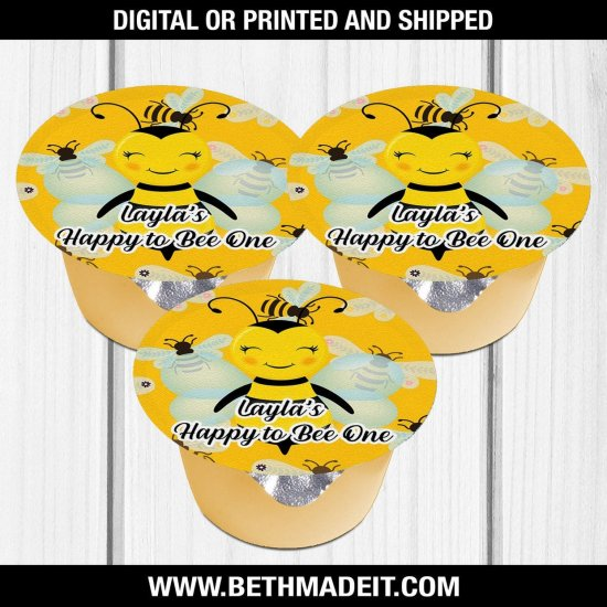 Bee Birthday Party, BumbleBee Treat, Bee Party Favors, Applesauce, Bee Favors, Bee Party Ideas, Digital