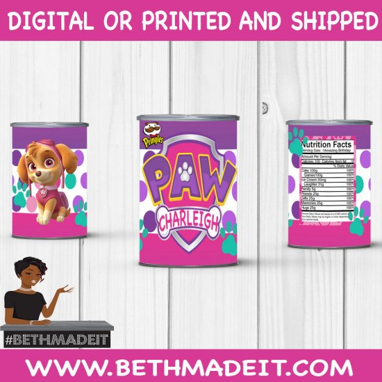 Skye Birthday Party, Skye Pringles Label, Paw Patrol, Party Favor, Party Decor, Skye Theme, Kids, Toddler, Digital or Printed and Shipped