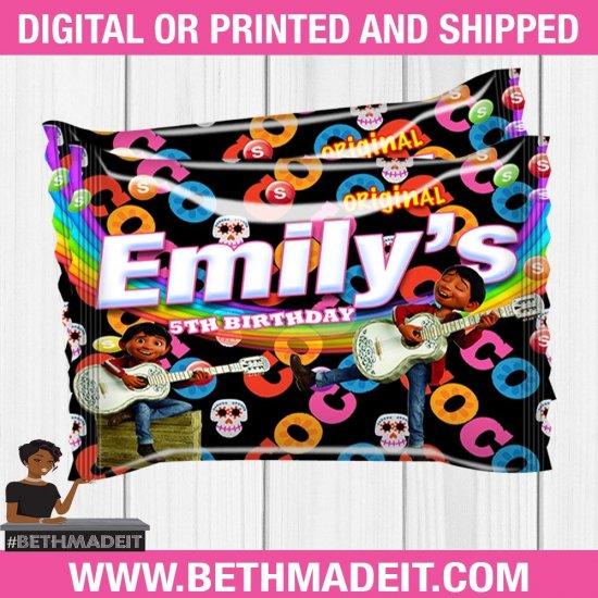 Coco Skittles Snacks, Coco Birthday,  Coco Party Favor, Coco Party Decor, Coco Custom Wrapper, Printable, Digital
