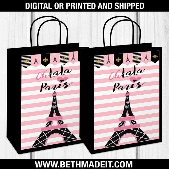 Paris Birthday Party, Paris Gift Bag, Paris Treat Bag, Paris Baby Shower, Paris Sweet 16, Paris Party Favors, Paris Party Decor, Digital