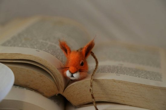 Squirrel bookmark. Needle felted small squirrel