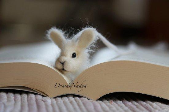 White bunny needle felted bookmark. Gift for her. Present for him. Gift for teacher. Housewarming gift