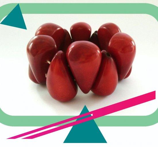 Designer Handmade Beaded Stretch Red Bracelet from Tagua