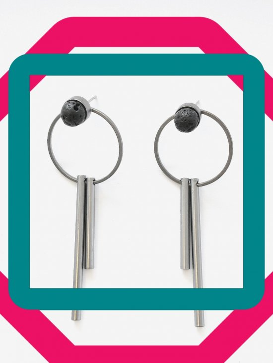Modern designer handmade dropearrings with lava stone
