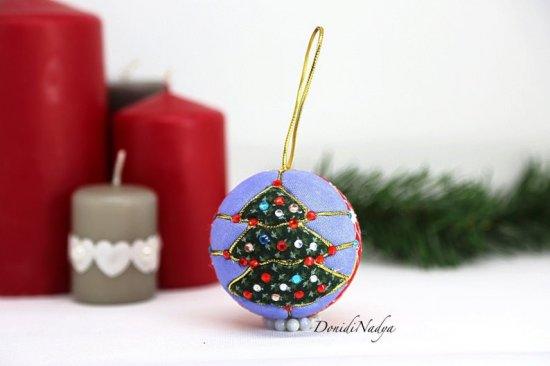 Kimekomi Christmas tree ornament hanging ball. Christmas housewarming gift. Collectible fabric xmas balls.