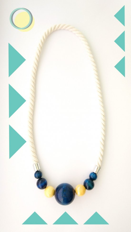 Art Designer Handmade Fiber Necklace with Yellow Ceramic and Blue Wooden Beads