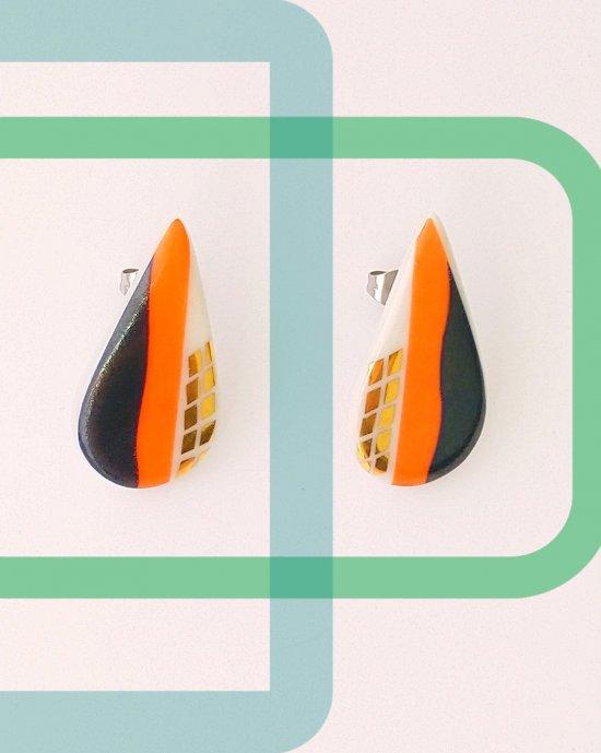 Designer Handmade Blue Orange Colour Geometric Print Porcelain Drop Earrings Golden Plated