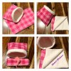Pink Plaid blanket and snuggle pouch