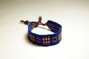 Handmade XOX Electric Blue Thread Bracelet