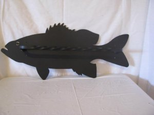 Bass Towel Rack Black Metal Wall Art Silhouette