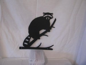 Raccoon on Limb Metal Silhouette Wildlife Wall Art