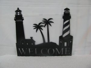 Lighthouse Welcome Metal Wall Art Silhouette